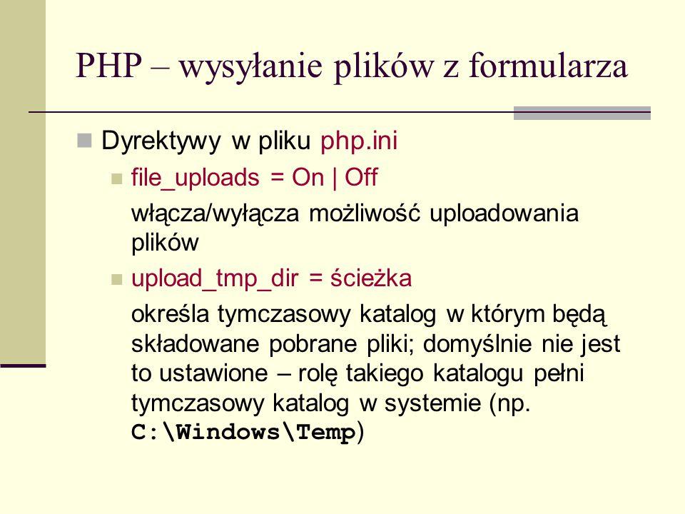 PHP – buforowanie string ob_get_clean (void) zwraca aktualną zawartość bufora i czyści bufor string ob_get_flush(void) wypisuje zawartość bufora zwraca go jako napis kończy buforowanie int ob_get_length(void) zwraca rozmiar bufora wyjściowego