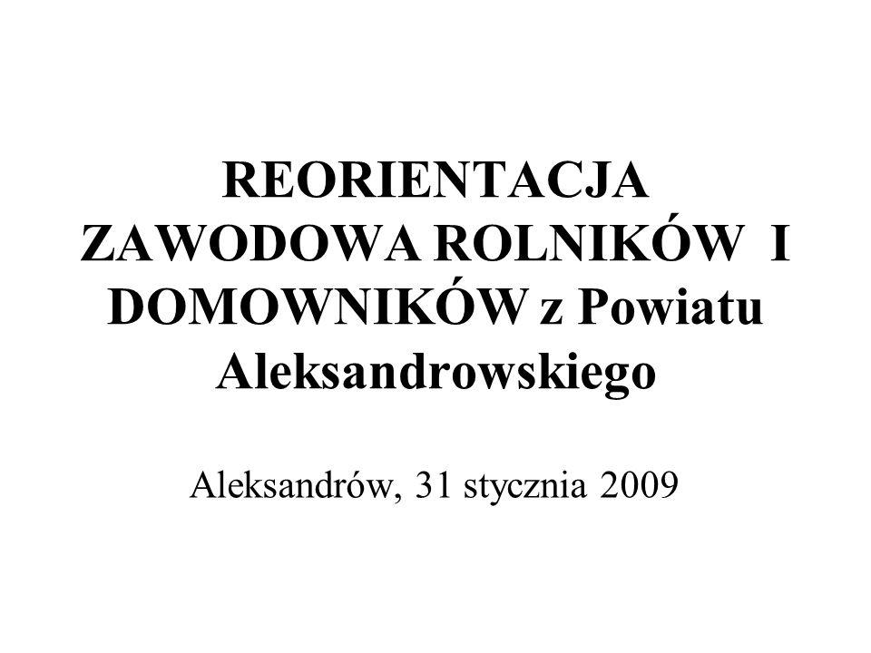REORIENTACJA ZAWODOWA ROLNIKÓW I DOMOWNIKÓW z Powiatu Aleksandrowskiego Aleksandrów, 31 stycznia 2009