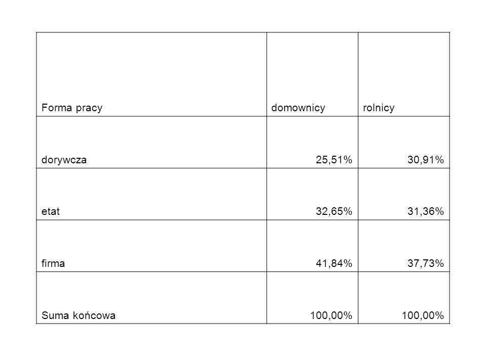 Forma pracydomownicyrolnicy dorywcza25,51%30,91% etat32,65%31,36% firma41,84%37,73% Suma końcowa100,00%