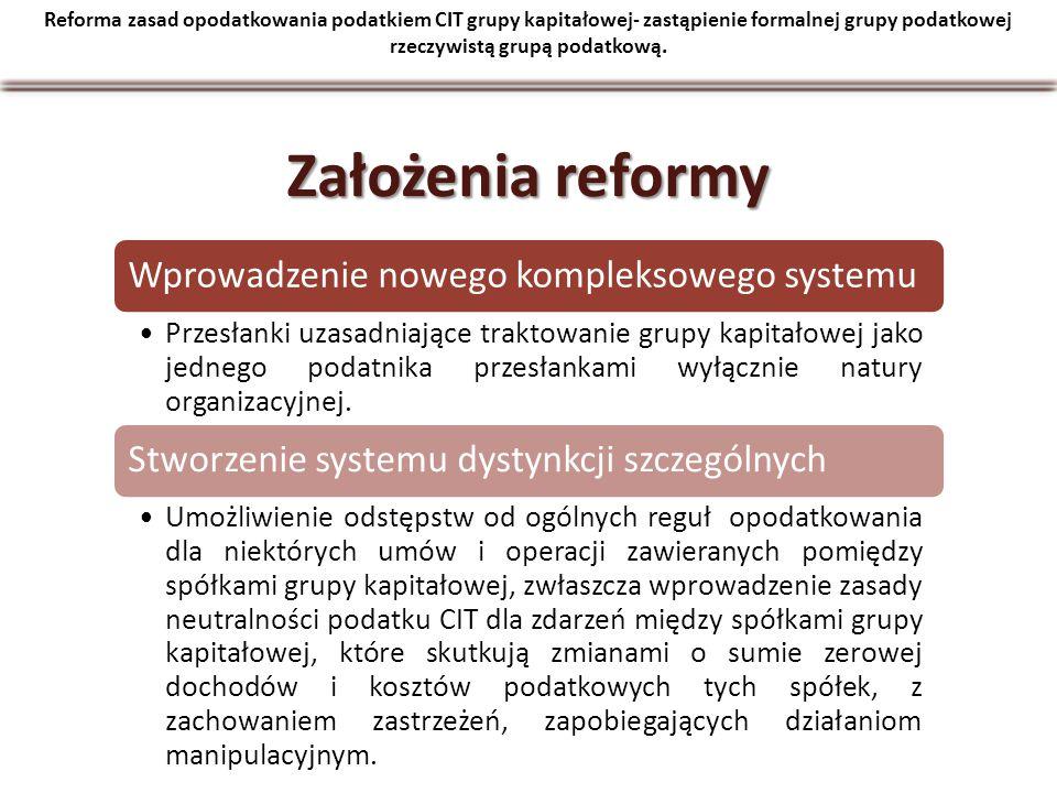 Reforma zasad opodatkowania podatkiem CIT grupy kapitałowej- zastąpienie formalnej grupy podatkowej rzeczywistą grupą podatkową. Założenia reformy Wpr