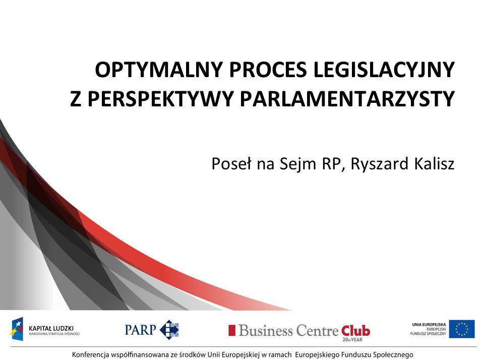 OPTYMALNY PROCES LEGISLACYJNY Z PERSPEKTYWY PARLAMENTARZYSTY Poseł na Sejm RP, Ryszard Kalisz