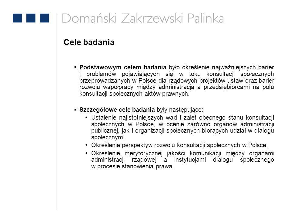 Cele badania  Podstawowym celem badania było określenie najważniejszych barier i problemów pojawiających się w toku konsultacji społecznych przeprowadzanych w Polsce dla rządowych projektów ustaw oraz barier rozwoju współpracy między administracją a przedsiębiorcami na polu konsultacji społecznych aktów prawnych.