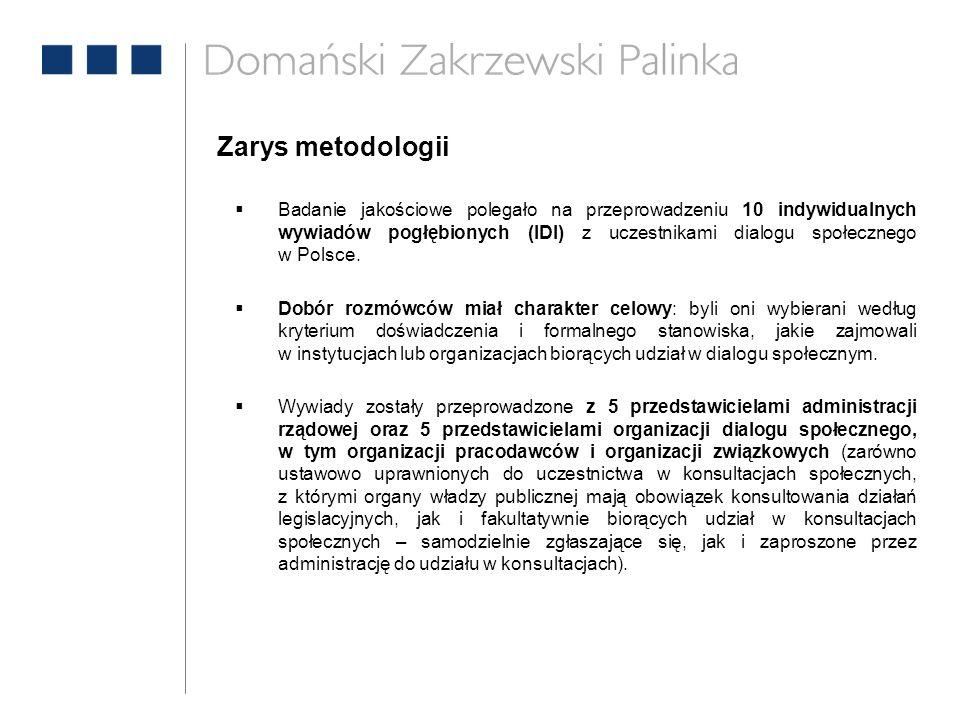  Badanie jakościowe polegało na przeprowadzeniu 10 indywidualnych wywiadów pogłębionych (IDI) z uczestnikami dialogu społecznego w Polsce.  Dobór ro