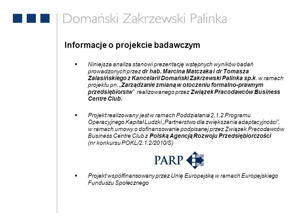 Informacje o projekcie badawczym  Niniejsza analiza stanowi prezentację wstępnych wyników badań prowadzonych przez dr hab. Marcina Matczaka i dr Toma
