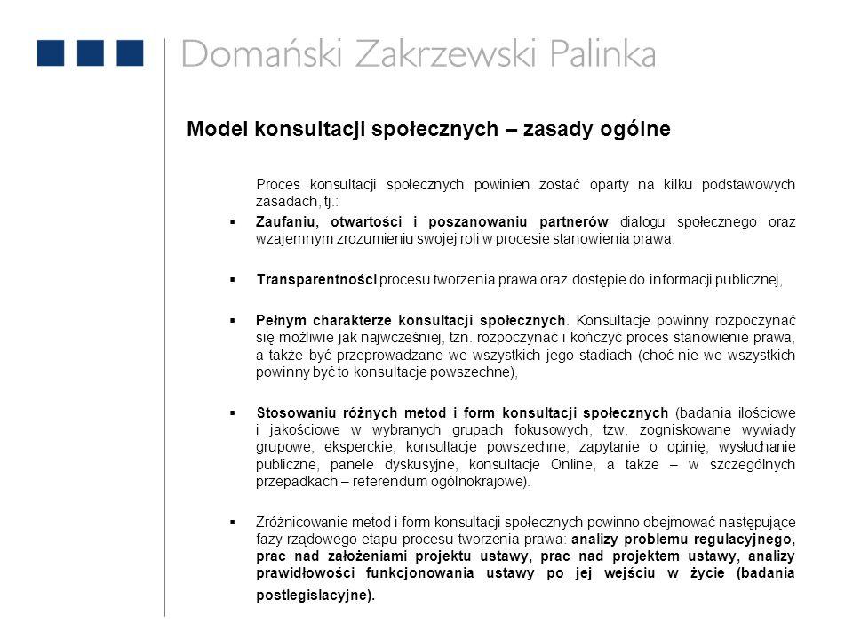 Model konsultacji społecznych – zasady ogólne Proces konsultacji społecznych powinien zostać oparty na kilku podstawowych zasadach, tj.:  Zaufaniu, o