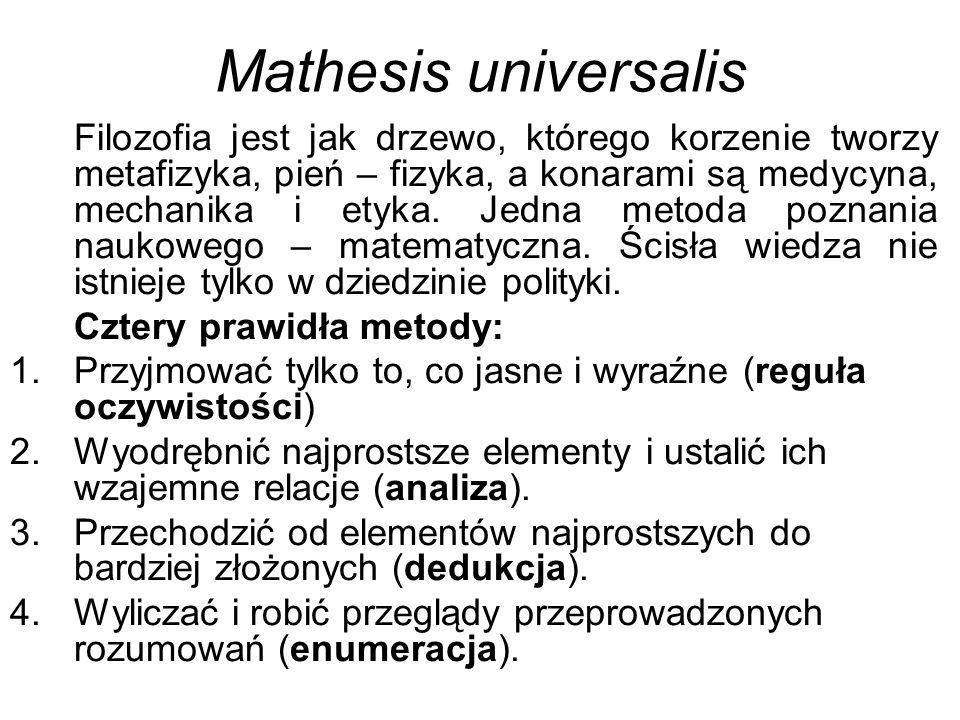 Mathesis universalis Filozofia jest jak drzewo, którego korzenie tworzy metafizyka, pień – fizyka, a konarami są medycyna, mechanika i etyka.