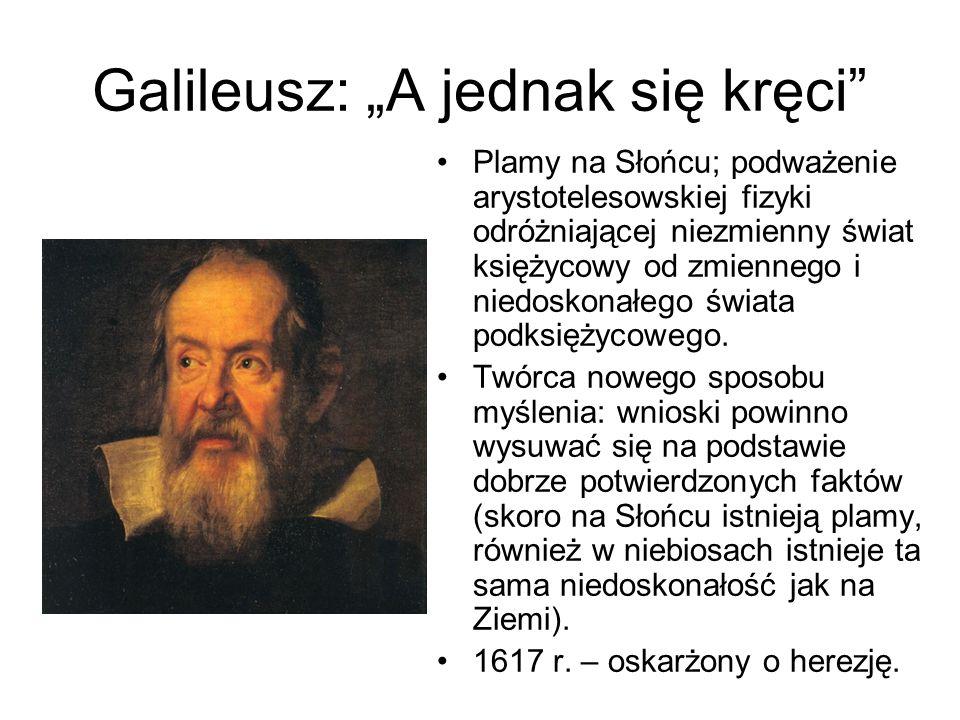 """Galileusz: """"A jednak się kręci Plamy na Słońcu; podważenie arystotelesowskiej fizyki odróżniającej niezmienny świat księżycowy od zmiennego i niedoskonałego świata podksiężycowego."""