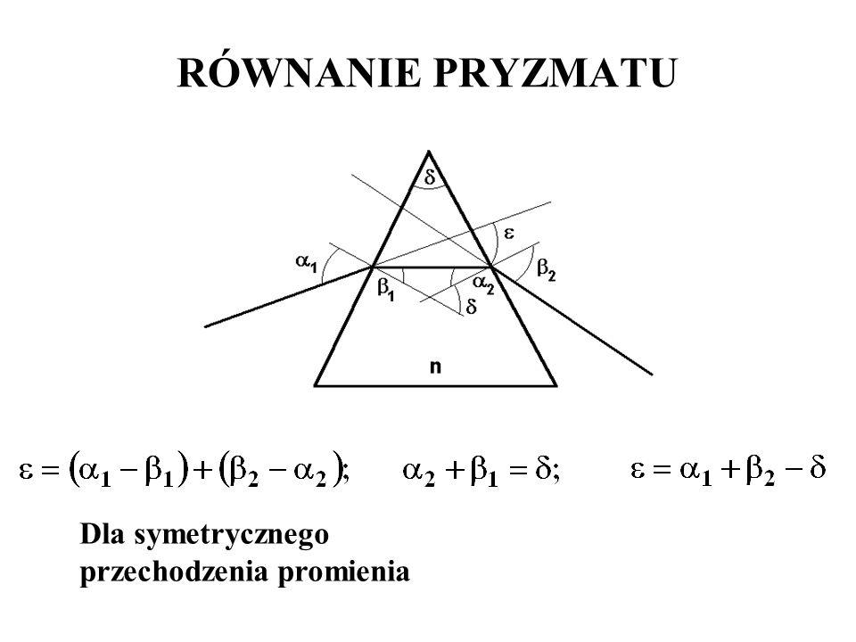 Dla symetrycznego przechodzenia promienia