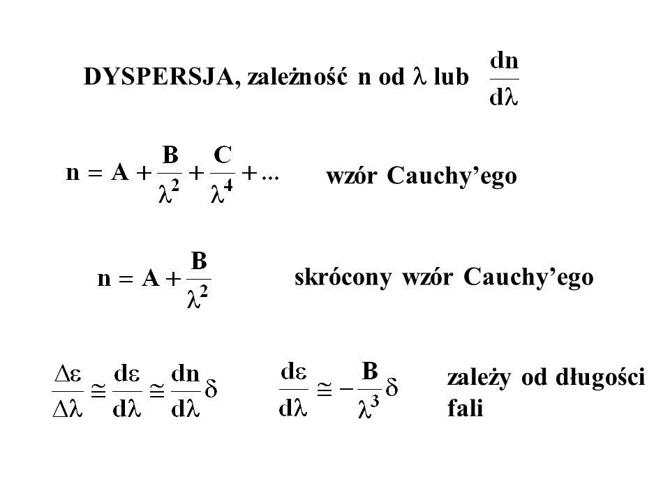 DYSPERSJA, zależność n od lub wzór Cauchy'ego skrócony wzór Cauchy'ego zależy od długości fali