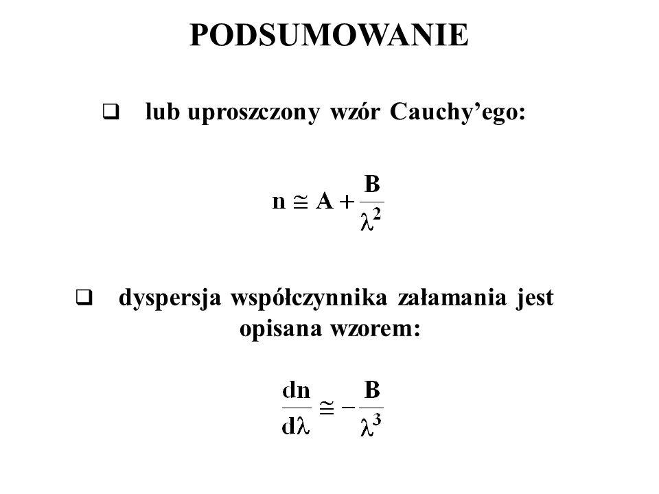 PODSUMOWANIE  lub uproszczony wzór Cauchy'ego:  dyspersja współczynnika załamania jest opisana wzorem: