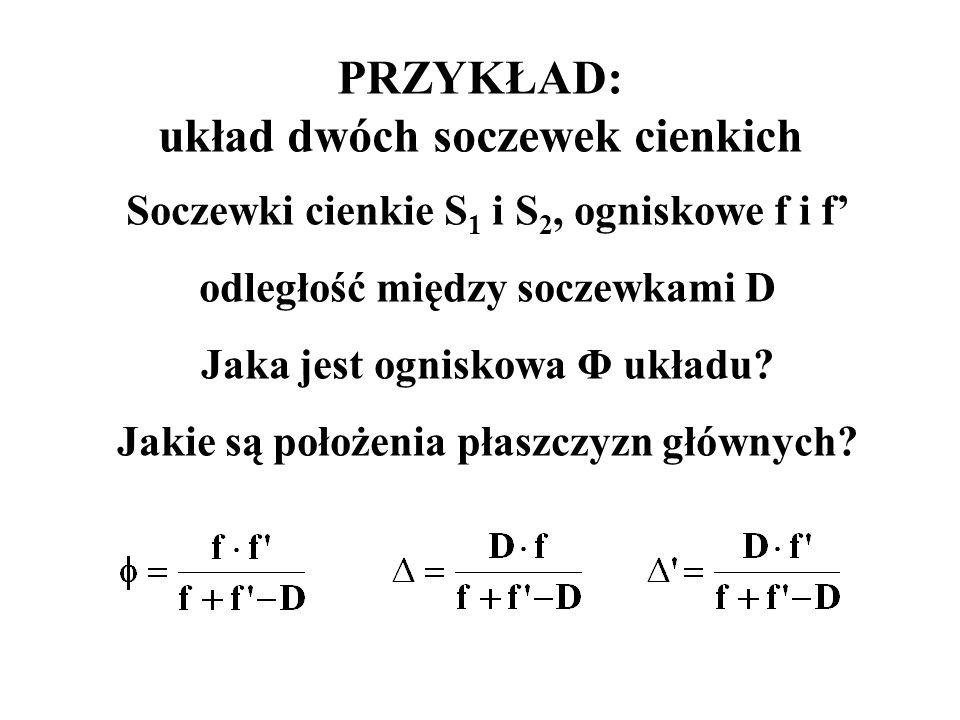 PRZYKŁAD: układ dwóch soczewek cienkich Soczewki cienkie S 1 i S 2, ogniskowe f i f' odległość między soczewkami D Jaka jest ogniskowa Φ układu? Jakie