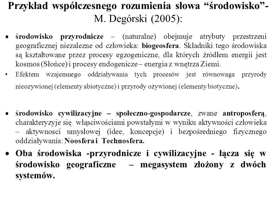 """Przykład współczesnego rozumienia słowa """"środowisko""""- M. Degórski (2005):  środowisko przyrodnicze – (naturalne) obejmuje atrybuty przestrzeni geogra"""