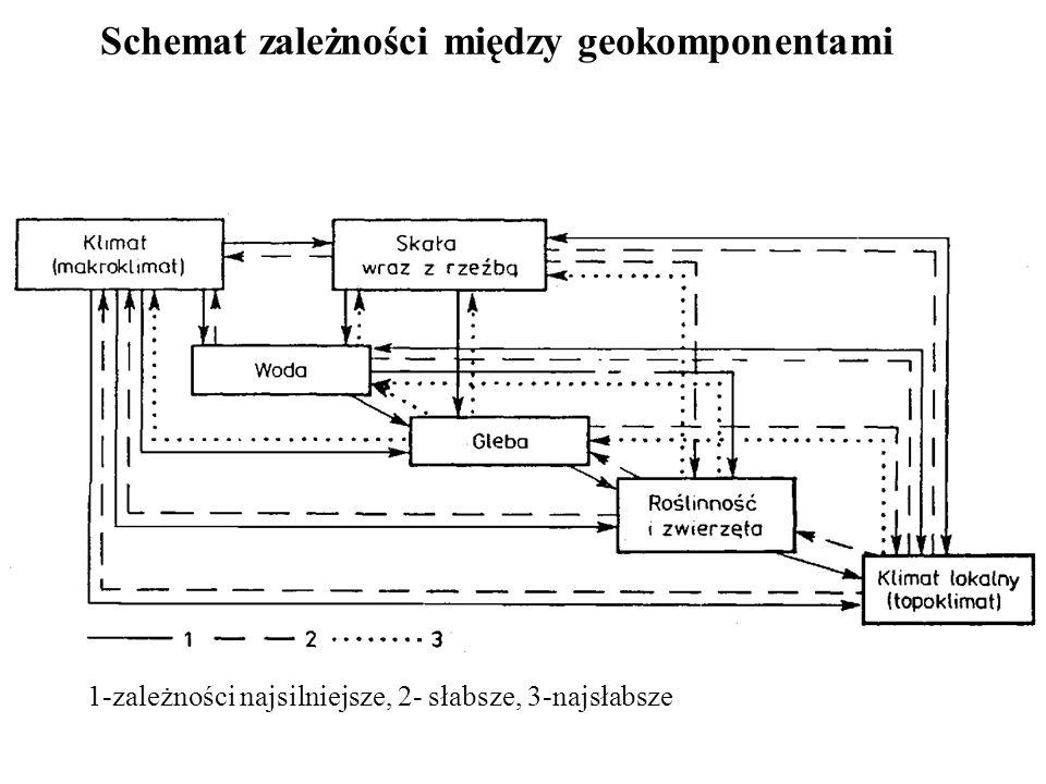 Schemat zależności między geokomponentami 1-zależności najsilniejsze, 2- słabsze, 3-najsłabsze
