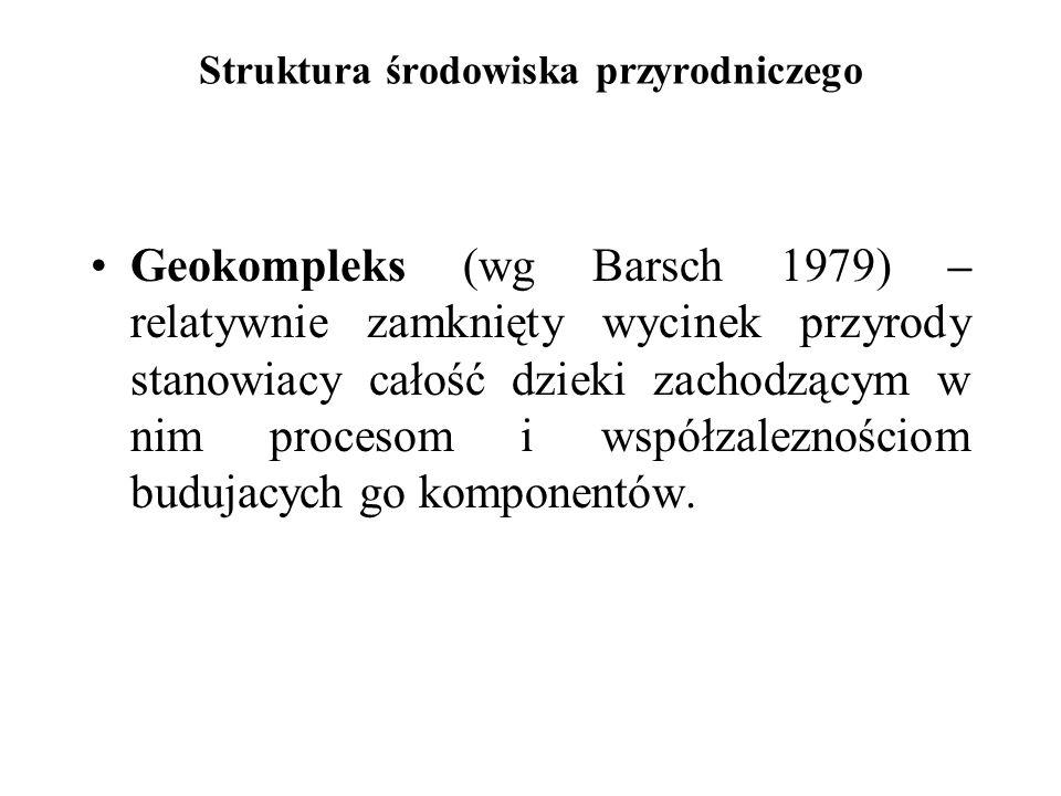 Struktura środowiska przyrodniczego Geokompleks (wg Barsch 1979) – relatywnie zamknięty wycinek przyrody stanowiacy całość dzieki zachodzącym w nim pr