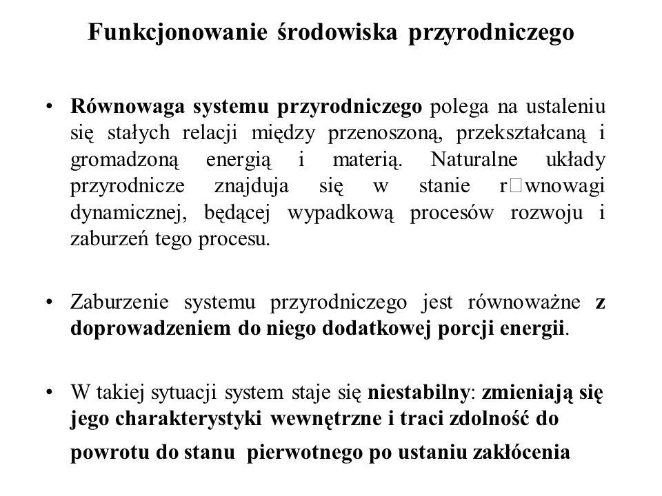 Funkcjonowanie środowiska przyrodniczego Równowaga systemu przyrodniczego polega na ustaleniu się stałych relacji między przenoszoną, przekształcaną i