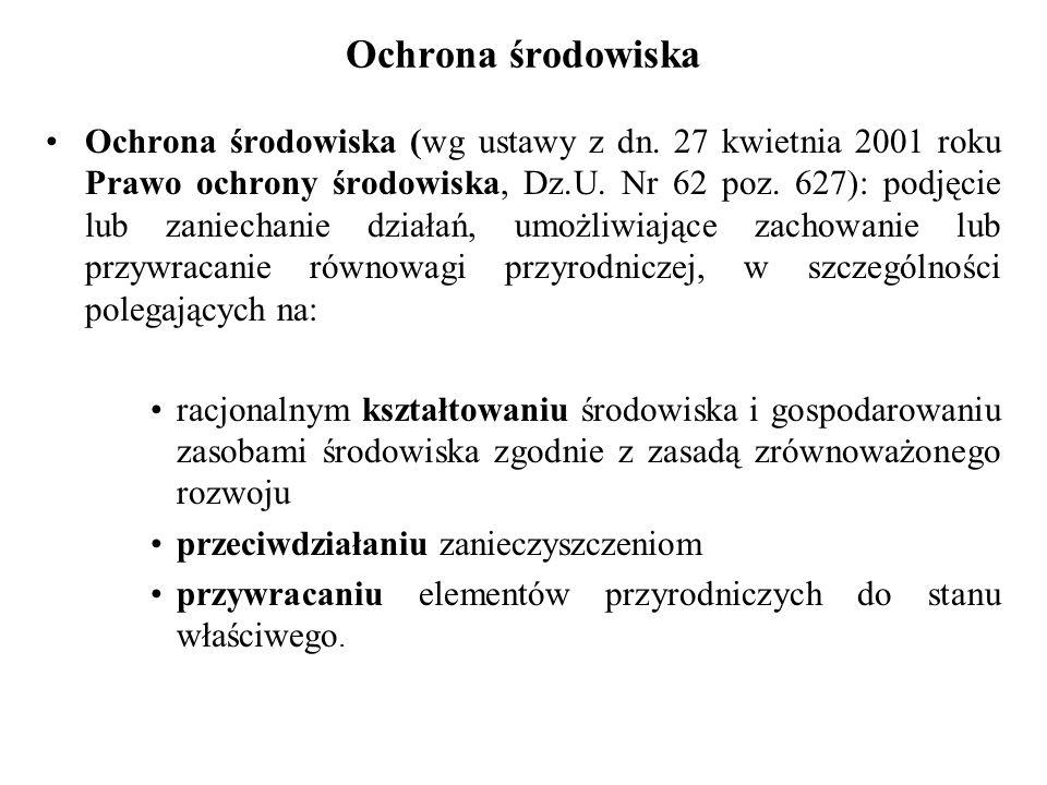 Ochrona środowiska Ochrona środowiska (wg ustawy z dn. 27 kwietnia 2001 roku Prawo ochrony środowiska, Dz.U. Nr 62 poz. 627): podjęcie lub zaniechanie