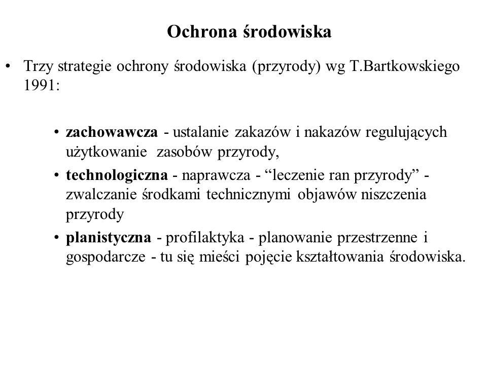 Ochrona środowiska Trzy strategie ochrony środowiska (przyrody) wg T.Bartkowskiego 1991: zachowawcza - ustalanie zakazów i nakazów regulujących użytko