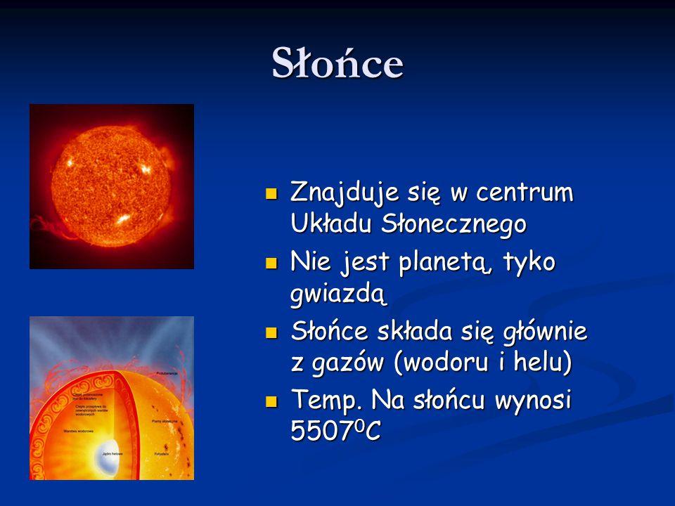 Słońce Znajduje się w centrum Układu Słonecznego Znajduje się w centrum Układu Słonecznego Nie jest planetą, tyko gwiazdą Nie jest planetą, tyko gwiaz