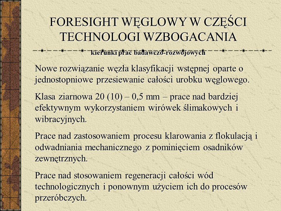 FORESIGHT WĘGLOWY W CZĘŚCI TECHNOLOGI WZBOGACANIA kierunki prac badawczo-rozwojowych Nowe rozwiązanie węzła klasyfikacji wstępnej oparte o jednostopni