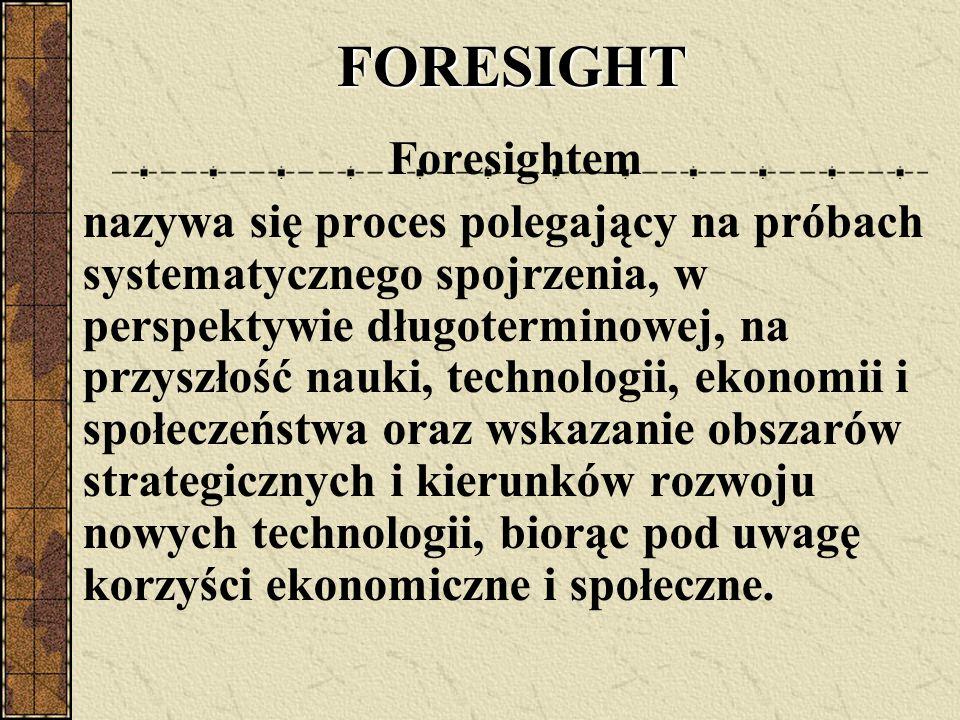 FORESIGHT FORESIGHT Foresightem nazywa się proces polegający na próbach systematycznego spojrzenia, w perspektywie długoterminowej, na przyszłość nauki, technologii, ekonomii i społeczeństwa oraz wskazanie obszarów strategicznych i kierunków rozwoju nowych technologii, biorąc pod uwagę korzyści ekonomiczne i społeczne.