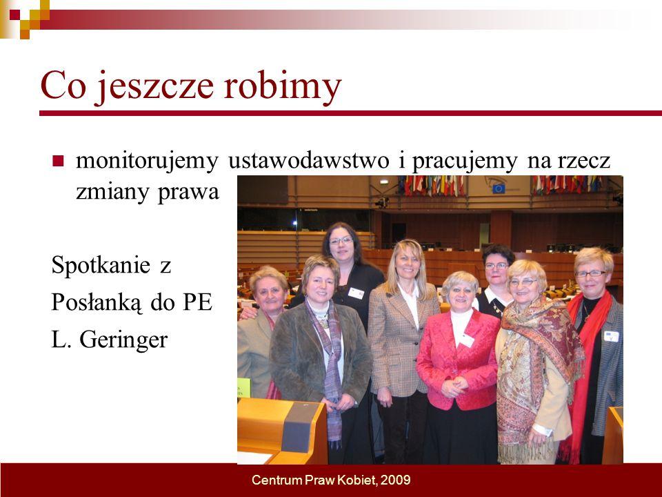 Co jeszcze robimy monitorujemy ustawodawstwo i pracujemy na rzecz zmiany prawa Spotkanie z Posłanką do PE L. Geringer Centrum Praw Kobiet, 2009