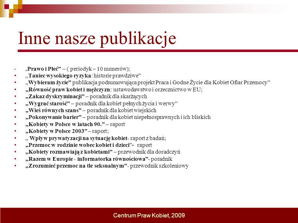 """Inne nasze publikacje """" Prawo i Płeć"""" – ( periodyk – 10 numerów); """"Taniec wysokiego ryzyka: historie prawdziwe"""" """"Wybieram życie"""" publikacja podsumowuj"""