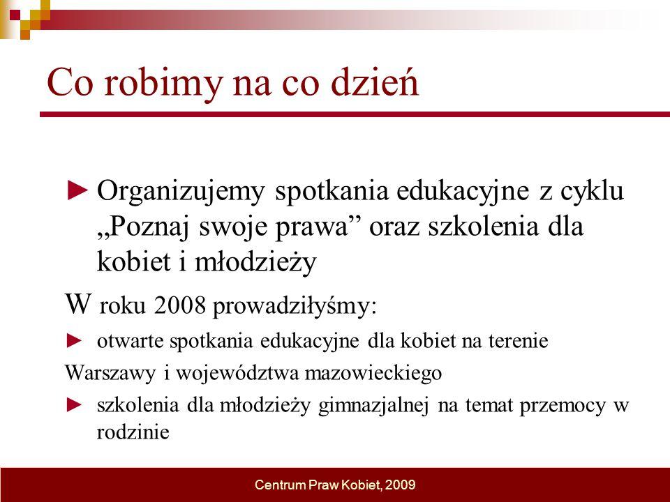 """Co robimy na co dzień ► Organizujemy spotkania edukacyjne z cyklu """"Poznaj swoje prawa"""" oraz szkolenia dla kobiet i młodzieży W roku 2008 prowadziłyśmy"""