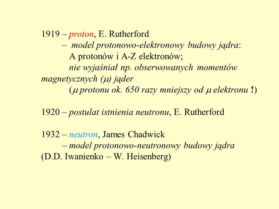 1919 – proton, E. Rutherford – model protonowo-elektronowy budowy jądra: A protonów i A-Z elektronów; nie wyjaśniał np. obserwowanych momentów magnety