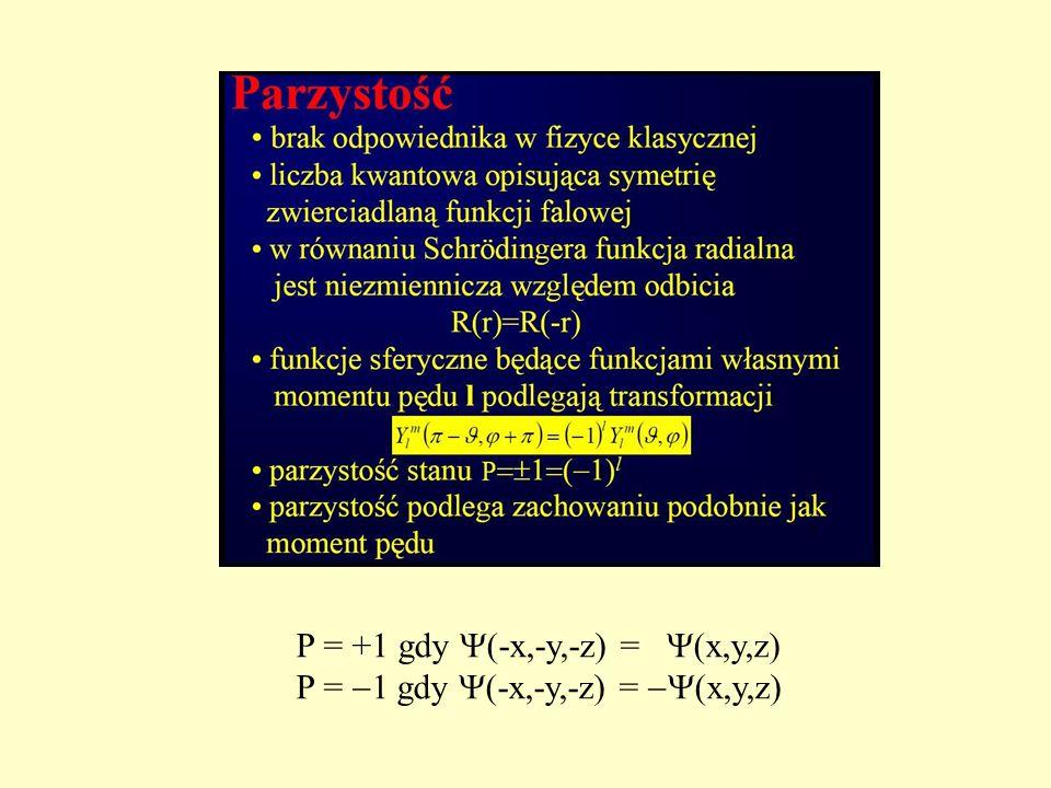 P = +1 gdy  (-x,-y,-z) =  (x,y,z) P =  1 gdy  (-x,-y,-z) =  (x,y,z)