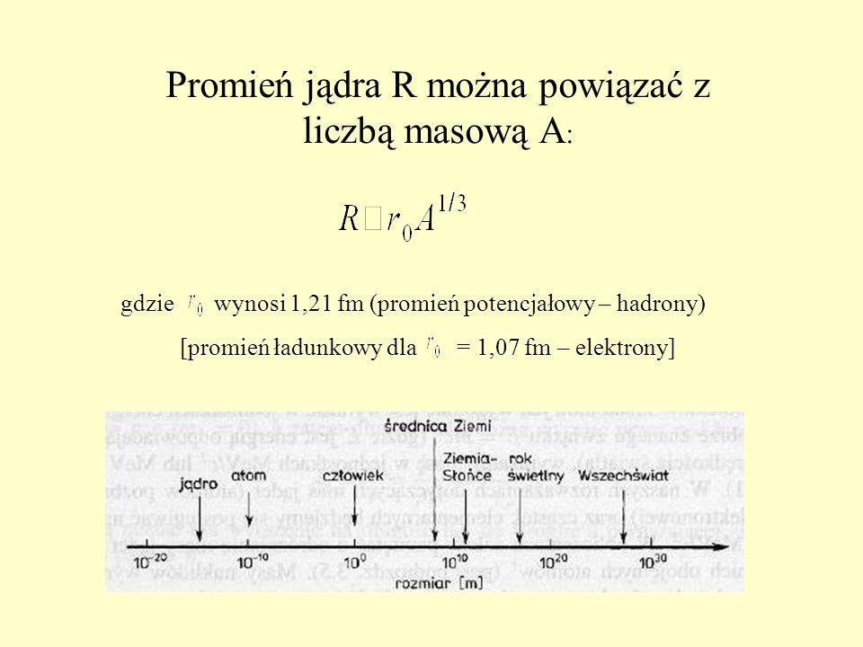 Promień jądra R można powiązać z liczbą masową A : gdzie wynosi 1,21 fm (promień potencjałowy – hadrony) [promień ładunkowy dla = 1,07 fm – elektrony]