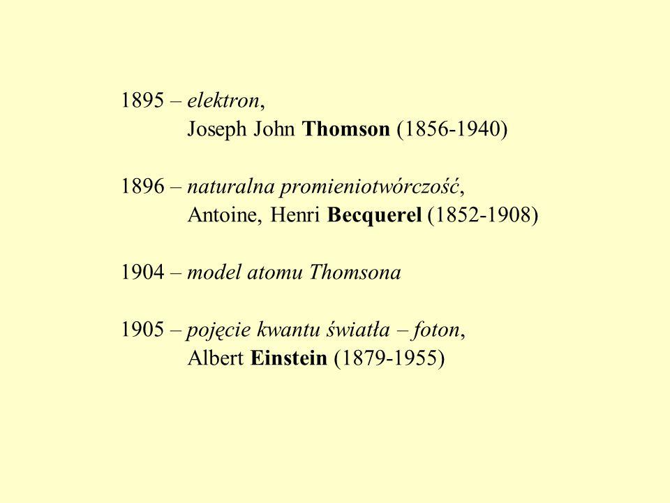 1895 – elektron, Joseph John Thomson (1856-1940) 1896 – naturalna promieniotwórczość, Antoine, Henri Becquerel (1852-1908) 1904 – model atomu Thomsona 1905 – pojęcie kwantu światła – foton, Albert Einstein (1879-1955)