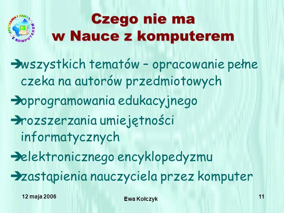 12 maja 2006 Ewa Kołczyk 11 Czego nie ma w Nauce z komputerem èwszystkich tematów – opracowanie pełne czeka na autorów przedmiotowych èoprogramowania edukacyjnego èrozszerzania umiejętności informatycznych èelektronicznego encyklopedyzmu èzastąpienia nauczyciela przez komputer