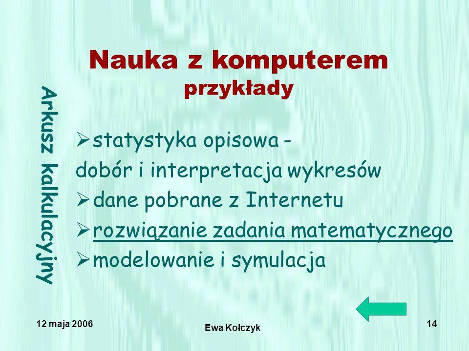 12 maja 2006 Ewa Kołczyk 14 Arkusz kalkulacyjny  statystyka opisowa - dobór i interpretacja wykresów  dane pobrane z Internetu  rozwiązanie zadania matematycznego rozwiązanie zadania matematycznego  modelowanie i symulacja Nauka z komputerem przykłady