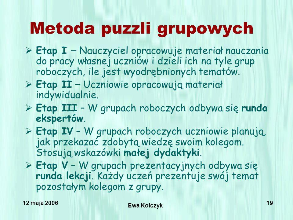 12 maja 2006 Ewa Kołczyk 19 Metoda puzzli grupowych  Etap I – Nauczyciel opracowuje materiał nauczania do pracy własnej uczni ó w i dzieli ich na tyle grup roboczych, ile jest wyodrębnionych temat ó w.