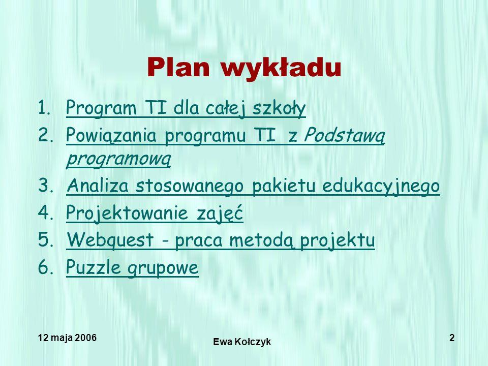 12 maja 2006 Ewa Kołczyk 2 1.Program TI dla całej szkołyProgram TI dla całej szkoły 2.Powiązania programu TI z Podstawą programowąPowiązania programu TI z Podstawą programową 3.Analiza stosowanego pakietu edukacyjnegoAnaliza stosowanego pakietu edukacyjnego 4.Projektowanie zajęćProjektowanie zajęć 5.Webquest - praca metodą projektuWebquest - praca metodą projektu 6.Puzzle grupowePuzzle grupowe Plan wykładu