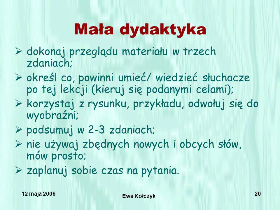 12 maja 2006 Ewa Kołczyk 20 Mała dydaktyka  dokonaj przeglądu materiału w trzech zdaniach;  określ co, powinni umieć/ wiedzieć słuchacze po tej lekcji (kieruj się podanymi celami);  korzystaj z rysunku, przykładu, odwołuj się do wyobraźni;  podsumuj w 2-3 zdaniach;  nie używaj zbędnych nowych i obcych słów, mów prosto;  zaplanuj sobie czas na pytania.