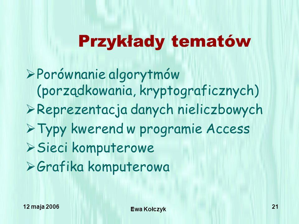 12 maja 2006 Ewa Kołczyk 21 Przykłady tematów  Porównanie algorytmów (porządkowania, kryptograficznych)  Reprezentacja danych nieliczbowych  Typy kwerend w programie Access  Sieci komputerowe  Grafika komputerowa