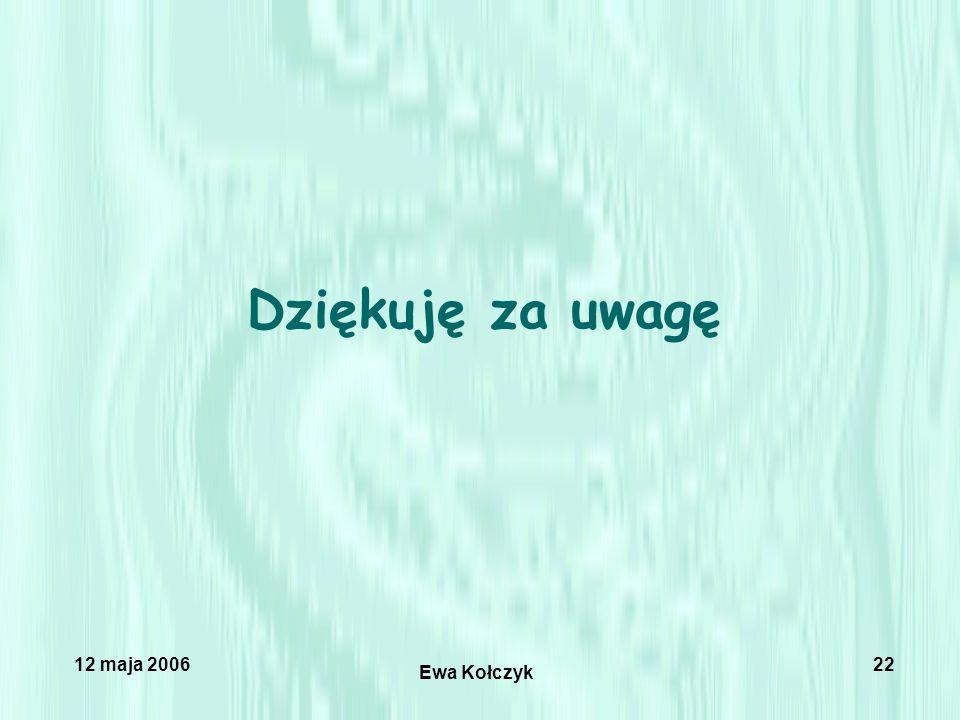 12 maja 2006 Ewa Kołczyk 22 Dziękuję za uwagę