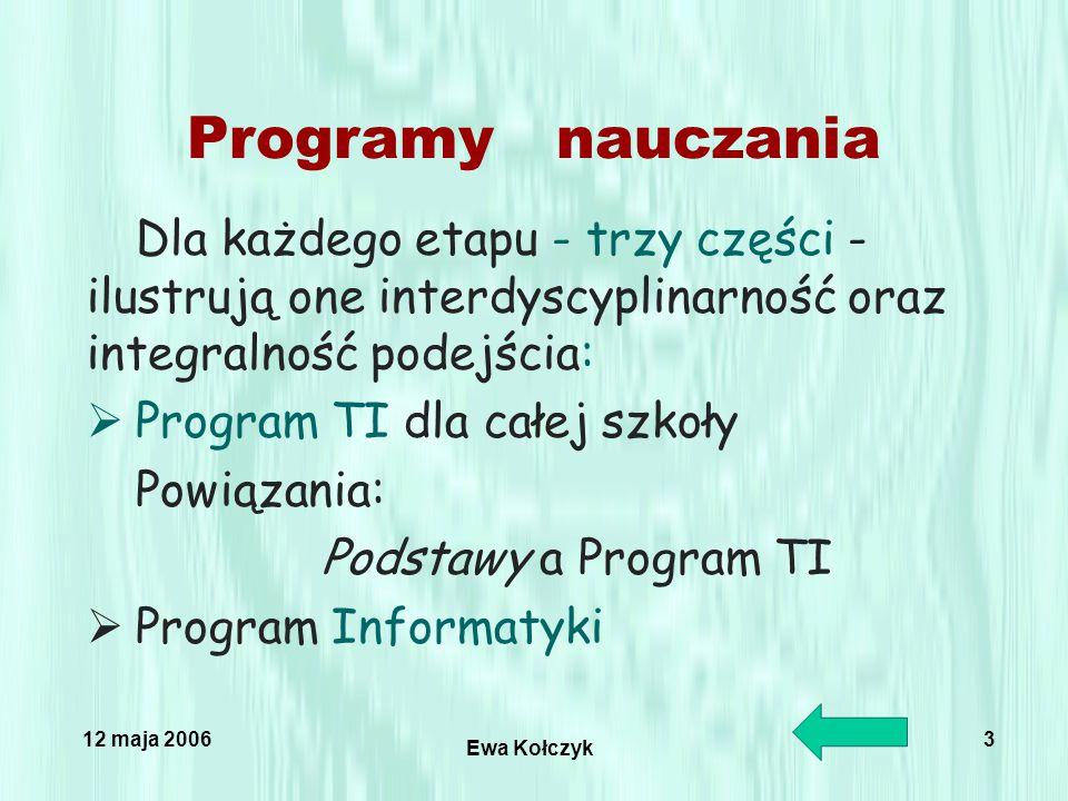 12 maja 2006 Ewa Kołczyk 3 Programy nauczania Dla każdego etapu - trzy części - ilustrują one interdyscyplinarność oraz integralność podejścia:  Program TI dla całej szkoły Powiązania: Podstawy a Program TI  Program Informatyki