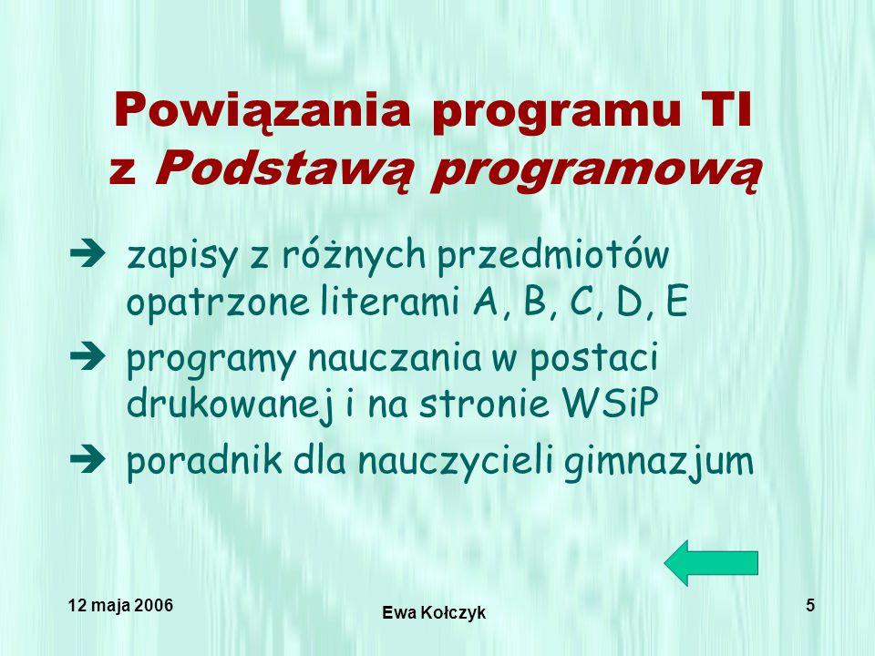 12 maja 2006 Ewa Kołczyk 5 Powiązania programu TI z Podstawą programową èzapisy z różnych przedmiotów opatrzone literami A, B, C, D, E èprogramy nauczania w postaci drukowanej i na stronie WSiP èporadnik dla nauczycieli gimnazjum