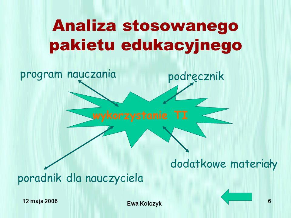 12 maja 2006 Ewa Kołczyk 6 Analiza stosowanego pakietu edukacyjnego program nauczania podręcznik poradnik dla nauczyciela dodatkowe materiały wykorzystanie TI