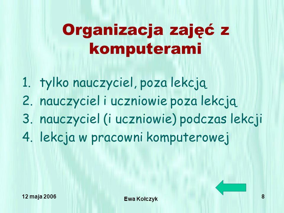 12 maja 2006 Ewa Kołczyk 8 Organizacja zajęć z komputerami 1.tylko nauczyciel, poza lekcją 2.nauczyciel i uczniowie poza lekcją 3.nauczyciel (i uczniowie) podczas lekcji 4.lekcja w pracowni komputerowej