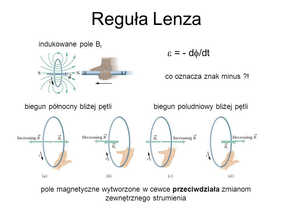 Reguła Lenza  = - d  /dt co oznacza znak minus ?.
