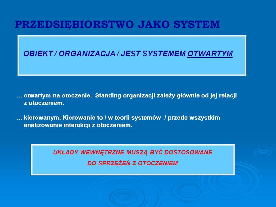 PRZEDSIĘBIORSTWO JAKO SYSTEM OBIEKT / ORGANIZACJA / JEST SYSTEMEM OTWARTYM...