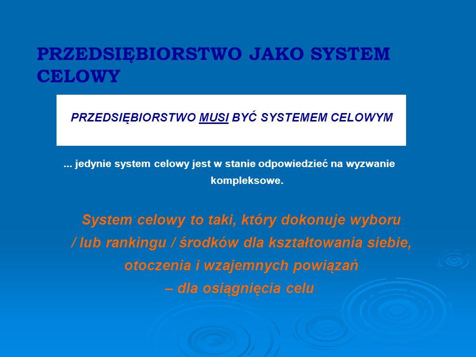 PRZEDSIĘBIORSTWO JAKO SYSTEM CELOWY PRZEDSIĘBIORSTWO MUSI BYĆ SYSTEMEM CELOWYM...