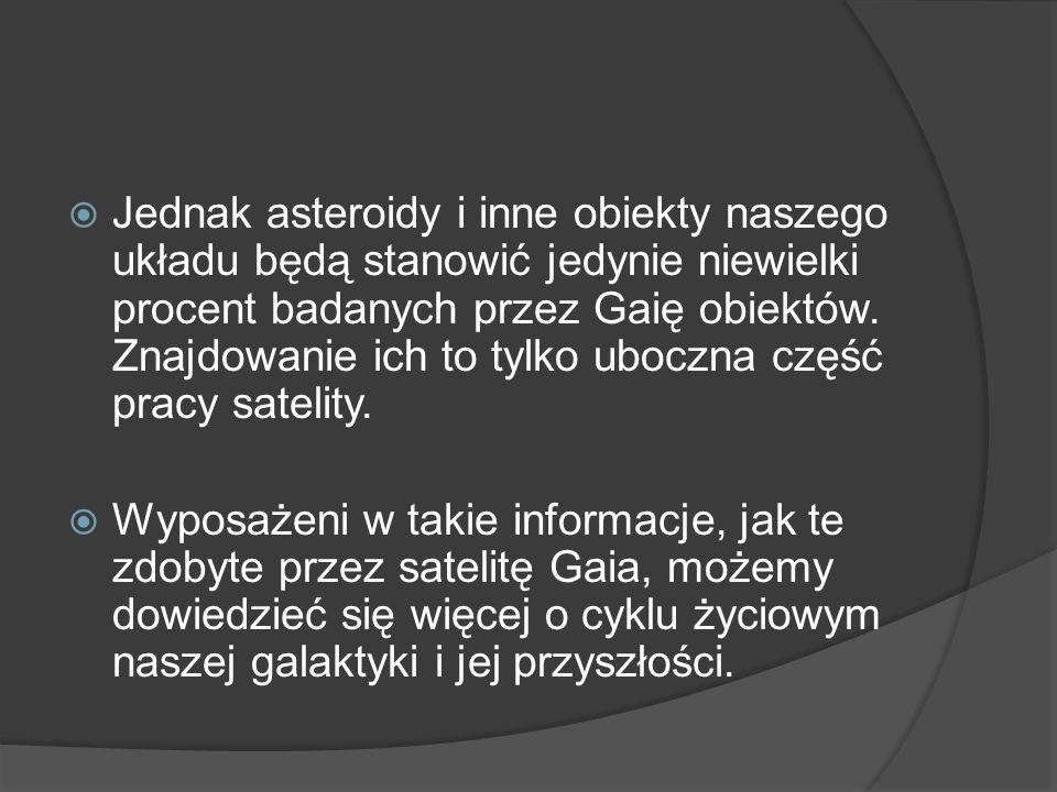  Jednak asteroidy i inne obiekty naszego układu będą stanowić jedynie niewielki procent badanych przez Gaię obiektów.
