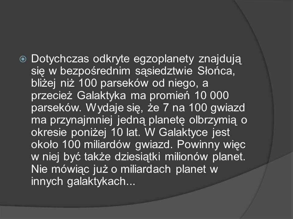  Dotychczas odkryte egzoplanety znajdują się w bezpośrednim sąsiedztwie Słońca, bliżej niż 100 parseków od niego, a przecież Galaktyka ma promień 10 000 parseków.