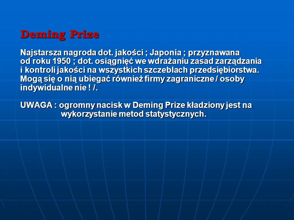 Deming Prize Najstarsza nagroda dot.jakości ; Japonia ; przyznawana od roku 1950 ; dot.