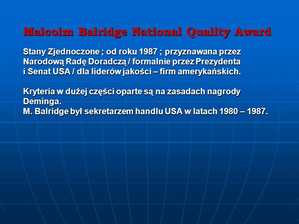 Malcolm Balridge National Quality Award Stany Zjednoczone ; od roku 1987 ; przyznawana przez Narodową Radę Doradczą / formalnie przez Prezydenta i Senat USA / dla liderów jakości – firm amerykańskich.
