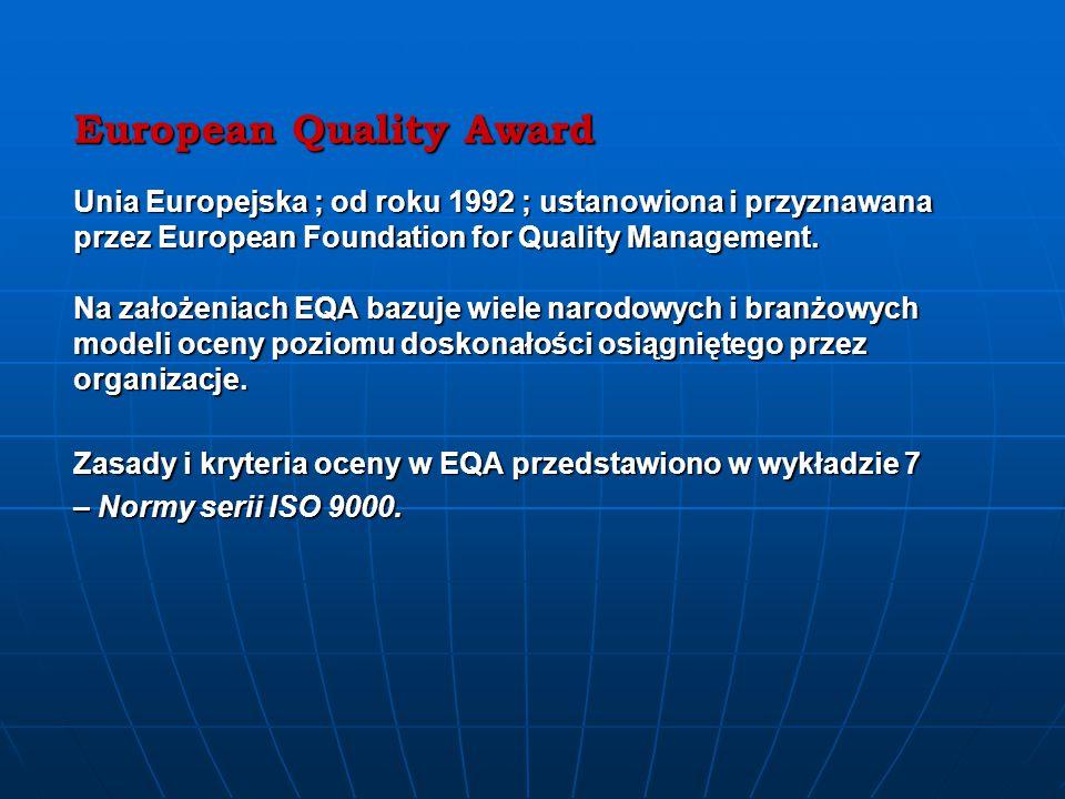 European Quality Award Unia Europejska ; od roku 1992 ; ustanowiona i przyznawana przez European Foundation for Quality Management.